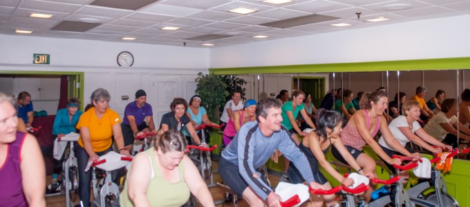 Spinning class at Mountains' Edge Fitness in Boulder, CO