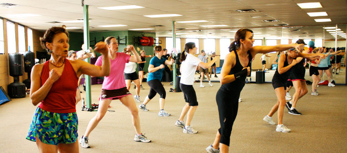 Air punching fitness class at our community gym in Boulder, Colorado
